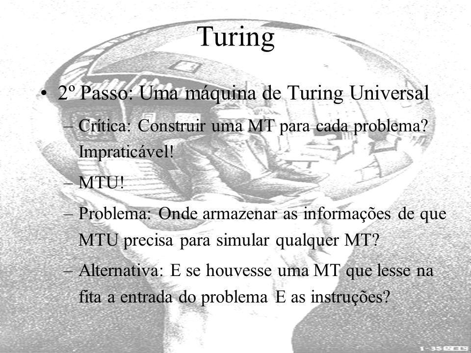 Turing 2º Passo: Uma máquina de Turing Universal –Crítica: Construir uma MT para cada problema? Impraticável! –MTU! –Problema: Onde armazenar as infor