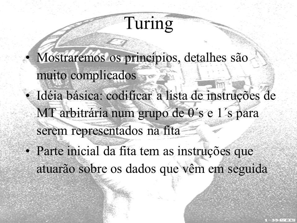 Turing Mostraremos os princípios, detalhes são muito complicados Idéia básica: codificar a lista de instruções de MT arbitrária num grupo de 0´s e 1´s