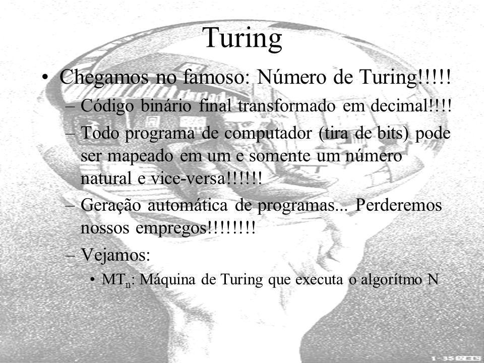 Turing Chegamos no famoso: Número de Turing!!!!! –Código binário final transformado em decimal!!!! –Todo programa de computador (tira de bits) pode se
