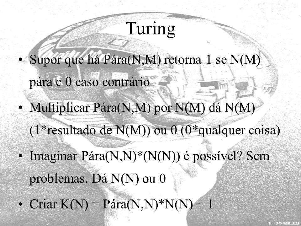 Turing Supor que há Pára(N,M) retorna 1 se N(M) pára e 0 caso contrário Multiplicar Pára(N,M) por N(M) dá N(M) (1*resultado de N(M)) ou 0 (0*qualquer