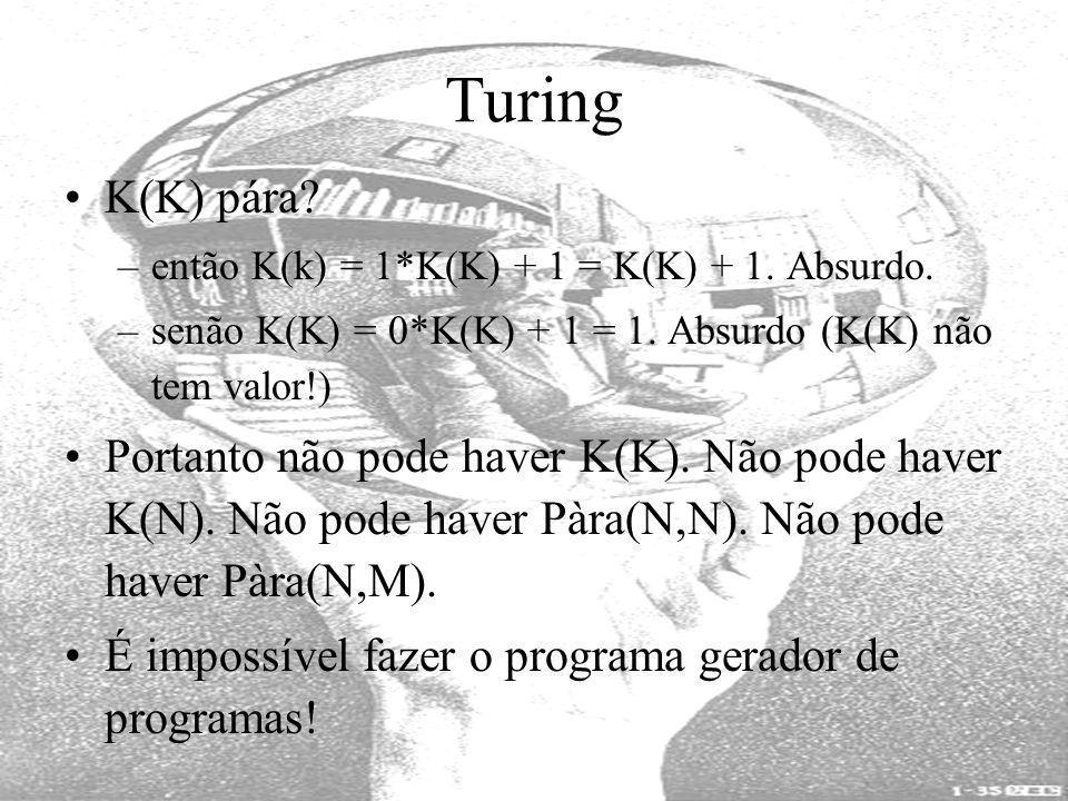 Turing K(K) pára? –então K(k) = 1*K(K) + 1 = K(K) + 1. Absurdo. –senão K(K) = 0*K(K) + 1 = 1. Absurdo (K(K) não tem valor!) Portanto não pode haver K(