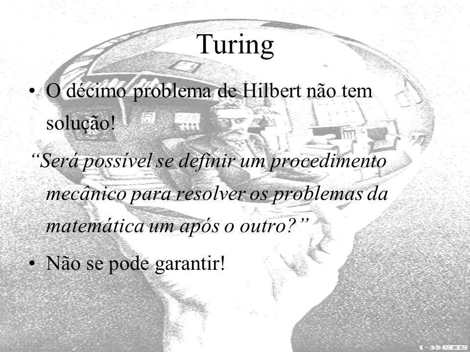 Turing O décimo problema de Hilbert não tem solução! Será possível se definir um procedimento mecânico para resolver os problemas da matemática um apó