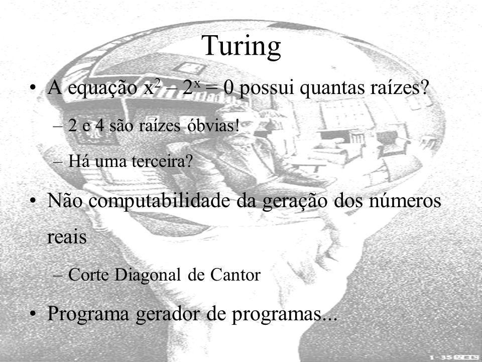 Turing A equação x 2 – 2 x = 0 possui quantas raízes? –2 e 4 são raízes óbvias! –Há uma terceira? Não computabilidade da geração dos números reais –Co