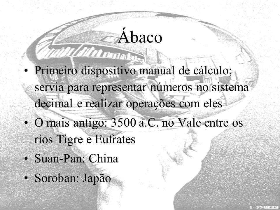 Ábaco Primeiro dispositivo manual de cálculo; servia para representar números no sistema decimal e realizar operações com eles O mais antigo: 3500 a.C