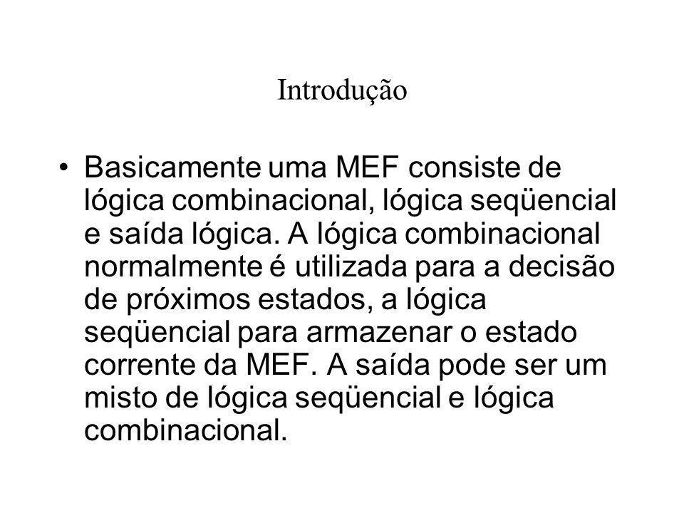Introdução Basicamente uma MEF consiste de lógica combinacional, lógica seqüencial e saída lógica. A lógica combinacional normalmente é utilizada para