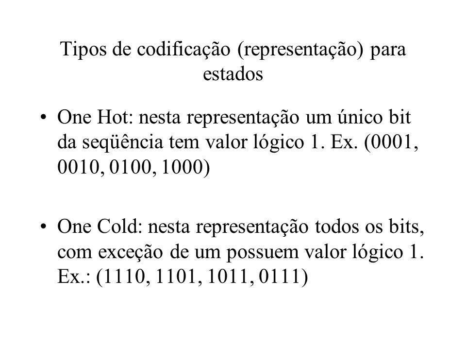 Tipos de codificação (representação) para estados One Hot: nesta representação um único bit da seqüência tem valor lógico 1. Ex. (0001, 0010, 0100, 10