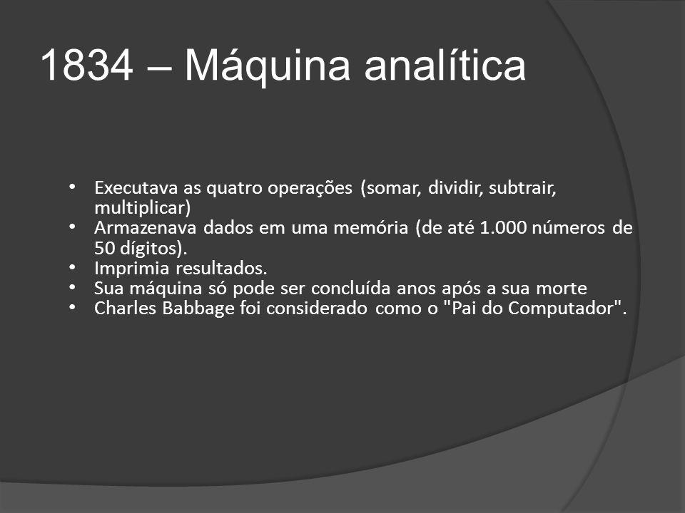 1834 – Máquina analítica Executava as quatro operações (somar, dividir, subtrair, multiplicar) Armazenava dados em uma memória (de até 1.000 números de 50 dígitos).