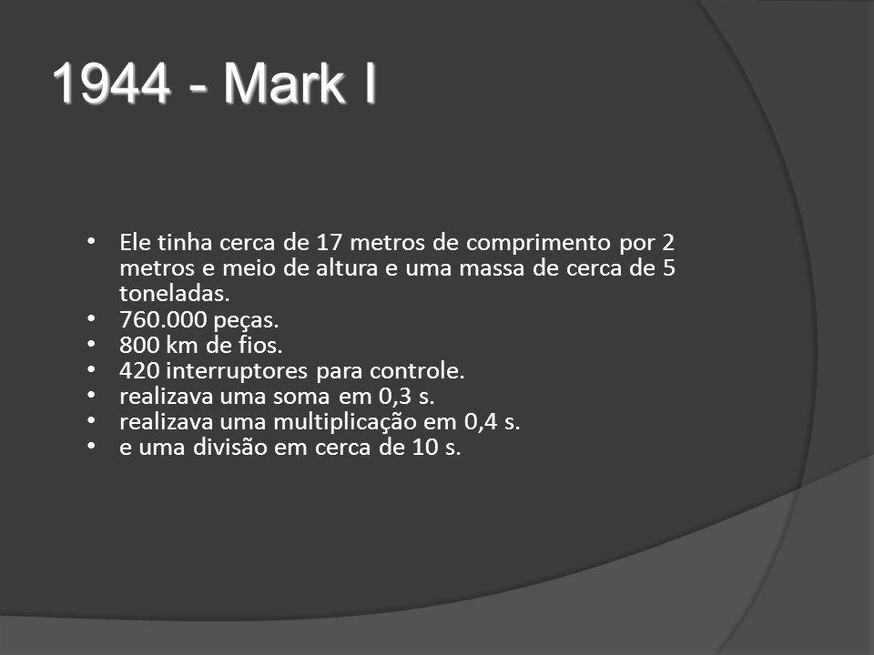 1944 - Mark I Ele tinha cerca de 17 metros de comprimento por 2 metros e meio de altura e uma massa de cerca de 5 toneladas.