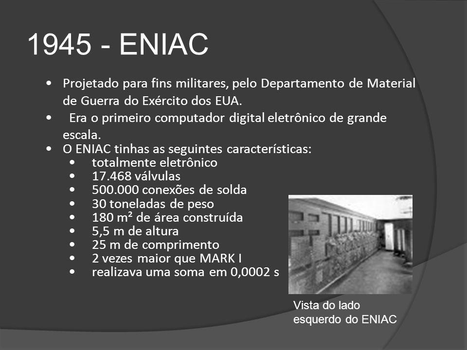 1945 - ENIAC Projetado para fins militares, pelo Departamento de Material de Guerra do Exército dos EUA.