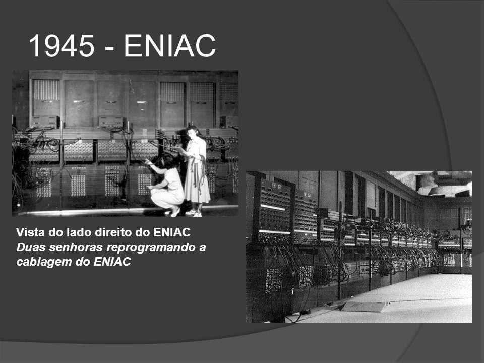 1945 - ENIAC Vista do lado direito do ENIAC Duas senhoras reprogramando a cablagem do ENIAC