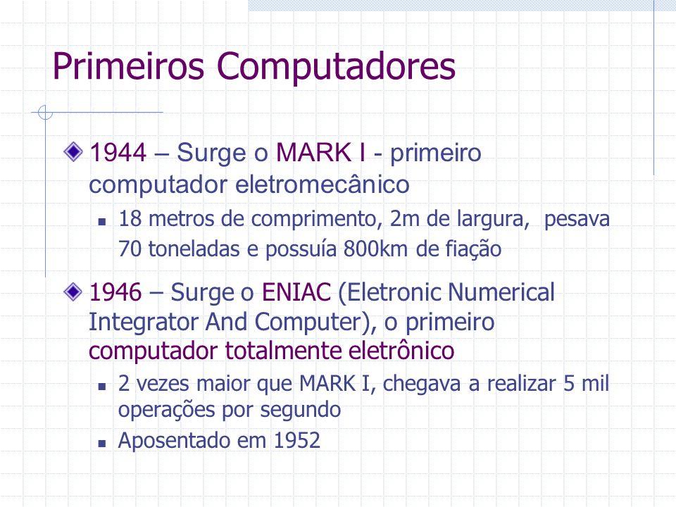 Primeiros Computadores 1944 – Surge o MARK I - primeiro computador eletromecânico 18 metros de comprimento, 2m de largura, pesava 70 toneladas e possu
