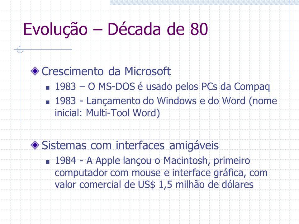 Crescimento da Microsoft 1983 – O MS-DOS é usado pelos PCs da Compaq 1983 - Lançamento do Windows e do Word (nome inicial: Multi-Tool Word) Sistemas c