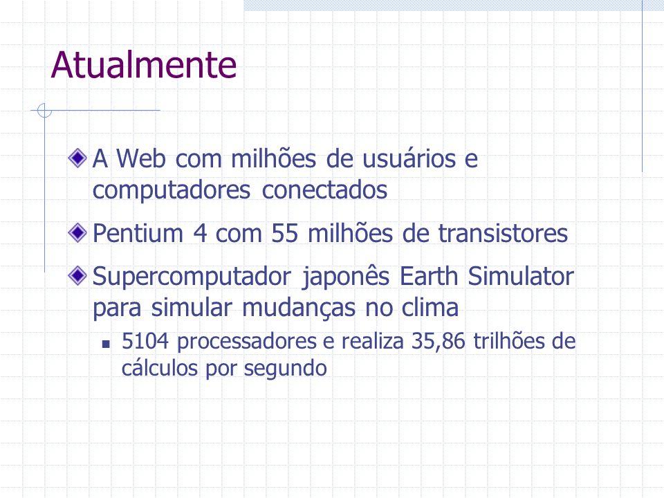 Atualmente A Web com milhões de usuários e computadores conectados Pentium 4 com 55 milhões de transistores Supercomputador japonês Earth Simulator pa