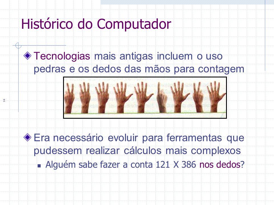 Evolução – Década de 60 e 70 Desenvolvimento de dispositivos de memória secundária e de entrada e saída 1963 - Douglas Engelbart recebe a patente do primeiro mouse 1966 - A IBM apresenta o primeiro disco de armazenamento, com capacidade de 5 MB 1971 - Invenção do disco flexível de 8 polegadas Desenvolvimento inicial da Internet 1969 – O Exército americano interligou as máquinas da ARPANET, que originaria a Internet