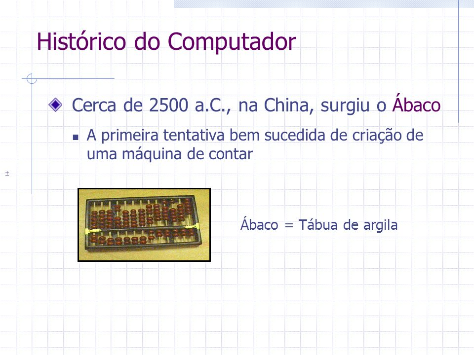 Cerca de 2500 a.C., na China, surgiu o Ábaco A primeira tentativa bem sucedida de criação de uma máquina de contar Histórico do Computador Ábaco = Táb