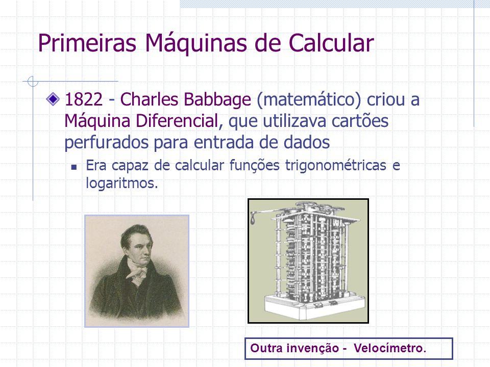1834 – Babbage propôs a Máquina Analítica, precursora dos computadores digitais de hoje Seria uma máquina mecânica e trabalharia a vapor Teria uma programação seqüencial de operações o que chamamos hoje de sistema operacional Ada Byron King criou programas para serem executados na Máquina Analítica Ada é considerada a primeira programadora da história Máquina Analítica de Babbage