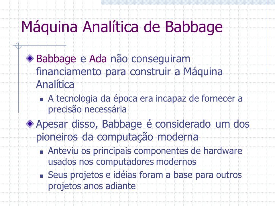 Babbage e Ada não conseguiram financiamento para construir a Máquina Analítica A tecnologia da época era incapaz de fornecer a precisão necessária Ape