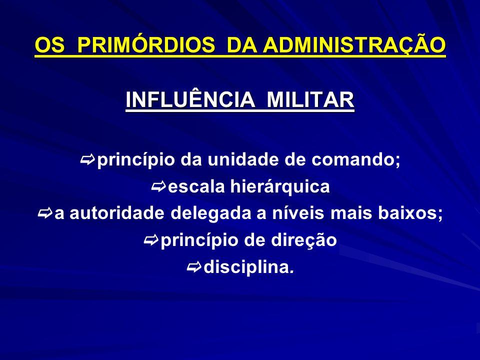 OS PRIMÓRDIOS DA ADMINISTRAÇÃO INFLUÊNCIA MILITAR princípio da unidade de comando; escala hierárquica a autoridade delegada a níveis mais baixos; princípio de direção disciplina.