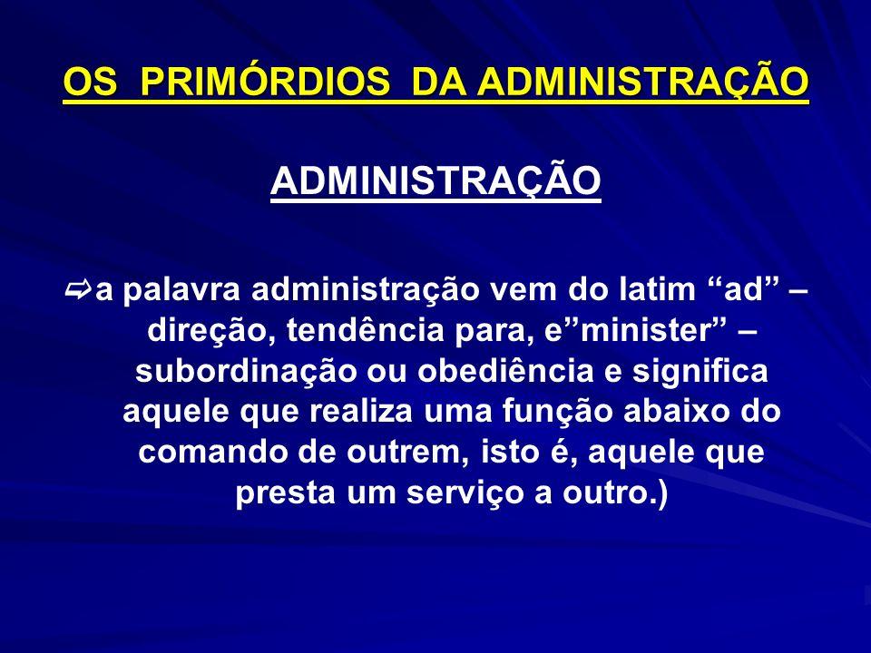 OS PRIMÓRDIOS DA ADMINISTRAÇÃO ADMINISTRAÇÃO a palavra administração vem do latim ad – direção, tendência para, eminister – subordinação ou obediência