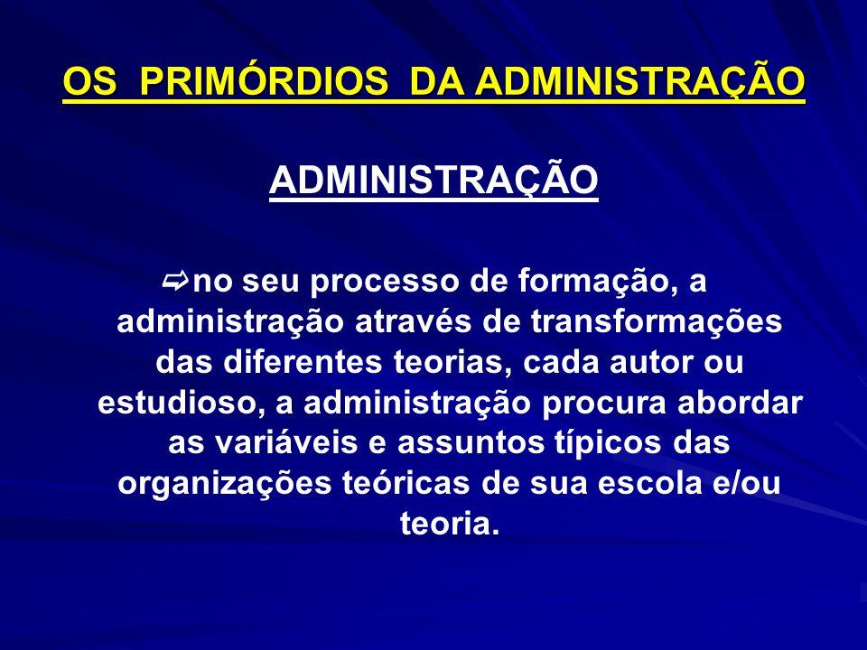 OS PRIMÓRDIOS DA ADMINISTRAÇÃO ADMINISTRAÇÃO no seu processo de formação, a administração através de transformações das diferentes teorias, cada autor