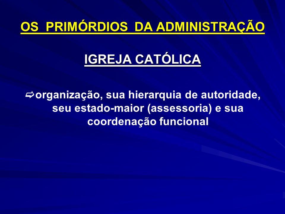 OS PRIMÓRDIOS DA ADMINISTRAÇÃO IGREJA CATÓLICA organização, sua hierarquia de autoridade, seu estado-maior (assessoria) e sua coordenação funcional