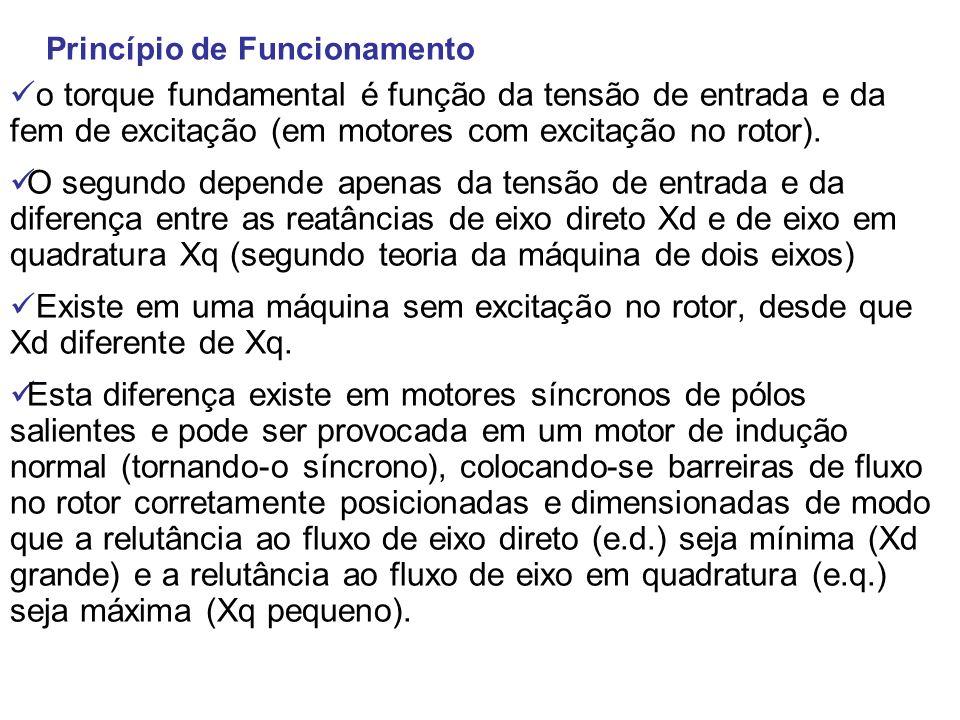Princípio de Funcionamento o torque fundamental é função da tensão de entrada e da fem de excitação (em motores com excitação no rotor). O segundo dep