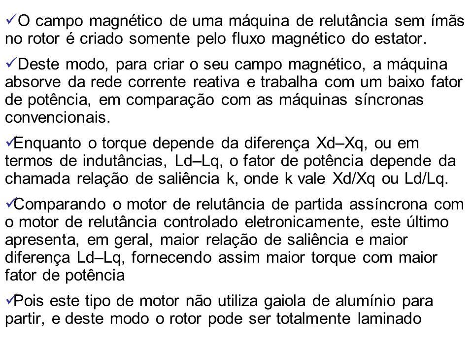 O campo magnético de uma máquina de relutância sem ímãs no rotor é criado somente pelo fluxo magnético do estator. Deste modo, para criar o seu campo