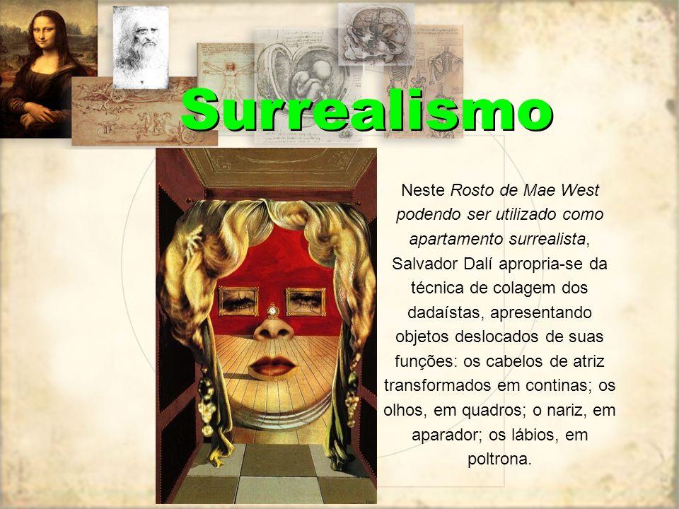 Surrealismo Neste Rosto de Mae West podendo ser utilizado como apartamento surrealista, Salvador Dalí apropria-se da técnica de colagem dos dadaístas,