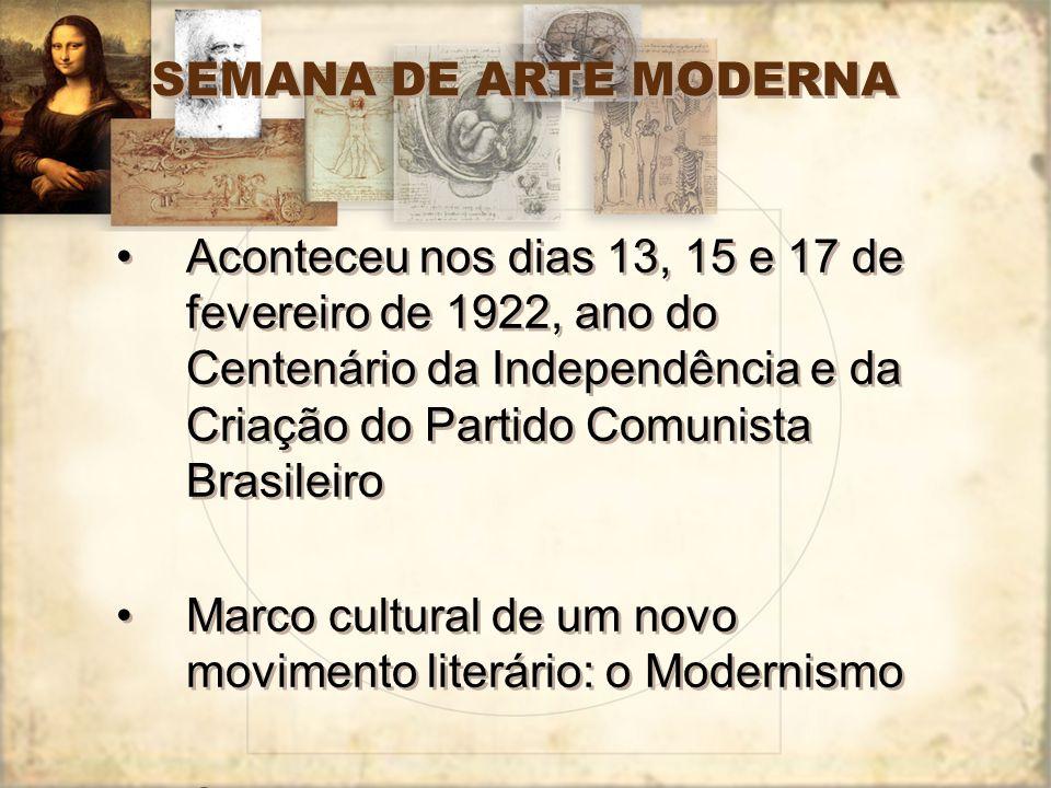 SEMANA DE ARTE MODERNA Aconteceu nos dias 13, 15 e 17 de fevereiro de 1922, ano do Centenário da Independência e da Criação do Partido Comunista Brasi
