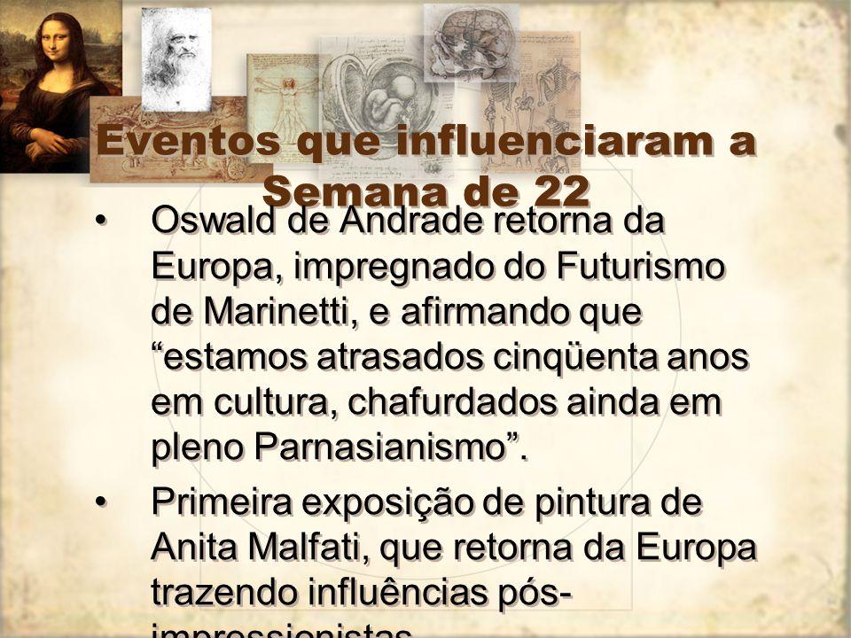 Eventos que influenciaram a Semana de 22 Oswald de Andrade retorna da Europa, impregnado do Futurismo de Marinetti, e afirmando queestamos atrasados c