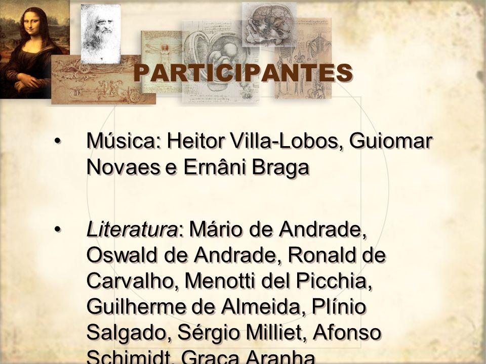 PARTICIPANTES Música: Heitor Villa-Lobos, Guiomar Novaes e Ernâni Braga Literatura: Mário de Andrade, Oswald de Andrade, Ronald de Carvalho, Menotti d
