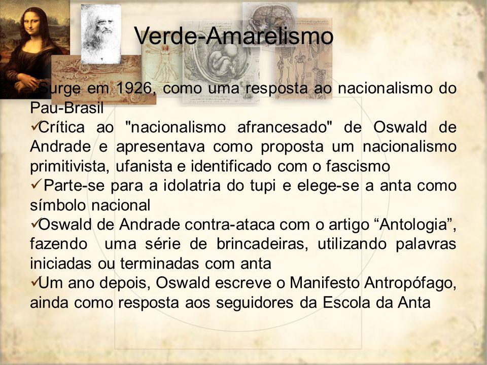 Verde-Amarelismo Surge em 1926, como uma resposta ao nacionalismo do Pau-Brasil Crítica ao
