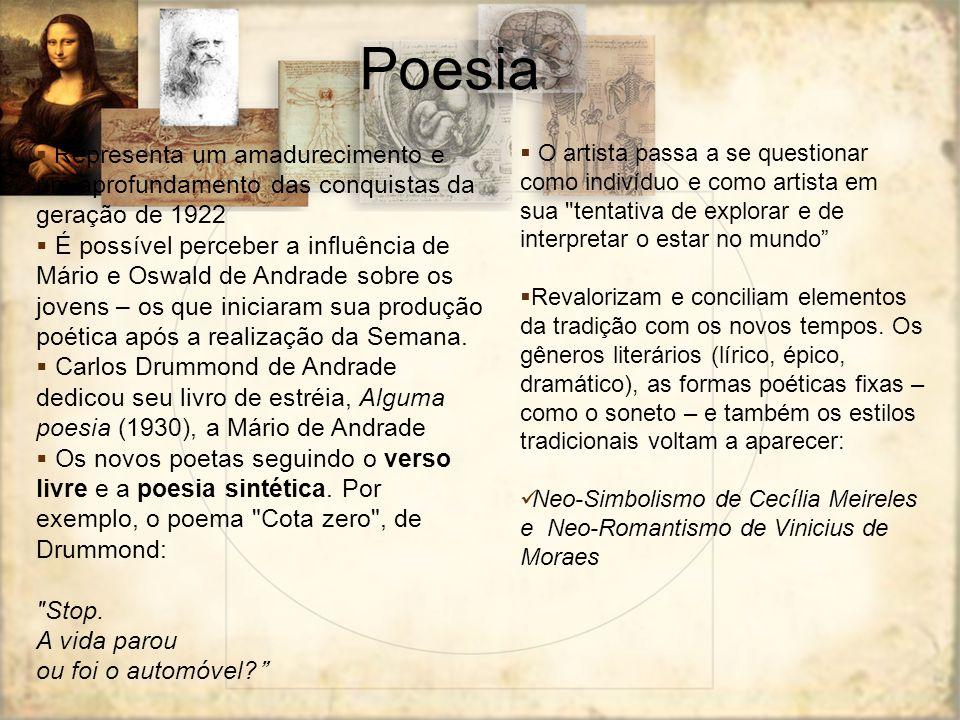 Poesia Representa um amadurecimento e um aprofundamento das conquistas da geração de 1922 É possível perceber a influência de Mário e Oswald de Andrad