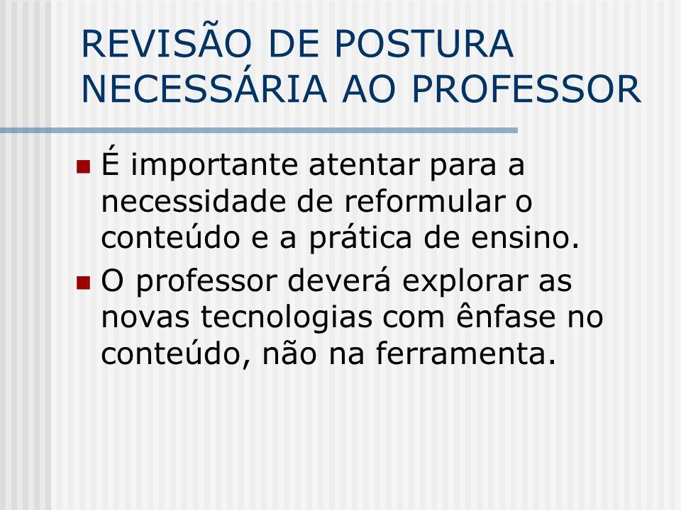 REVISÃO DE POSTURA NECESSÁRIA AO PROFESSOR É importante atentar para a necessidade de reformular o conteúdo e a prática de ensino.