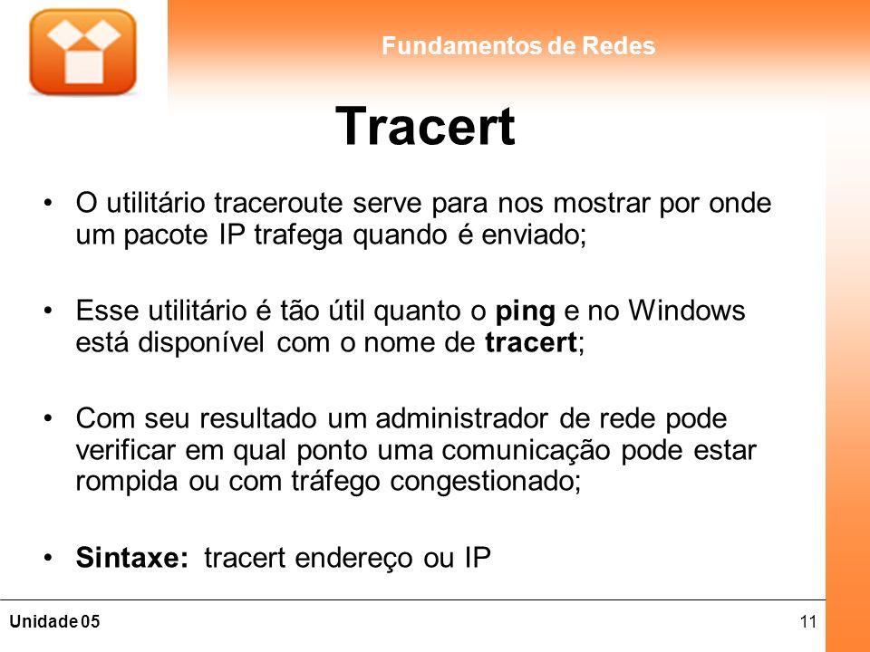 11Unidade 05 Fundamentos de Redes Tracert O utilitário traceroute serve para nos mostrar por onde um pacote IP trafega quando é enviado; Esse utilitár