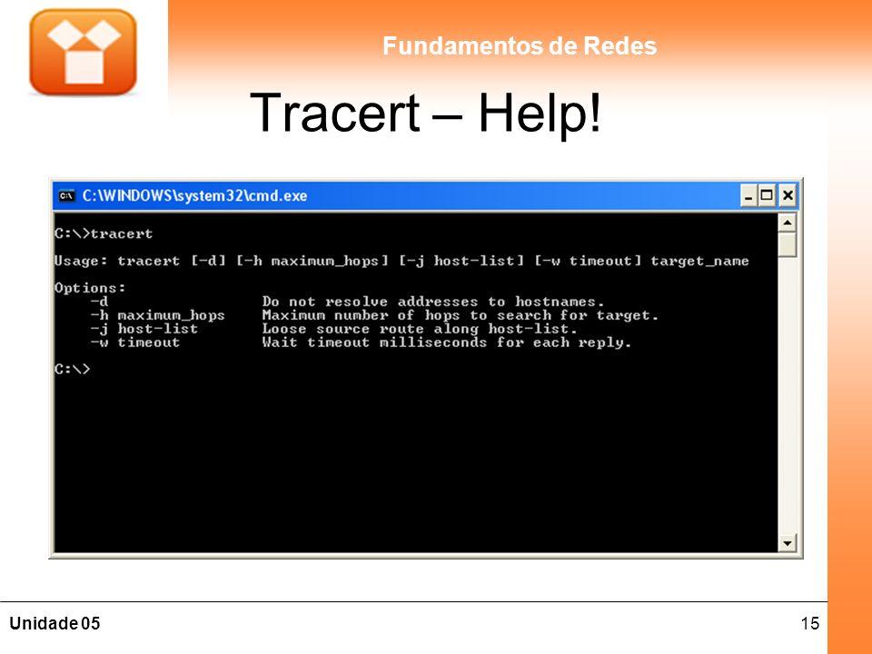 15Unidade 05 Fundamentos de Redes Tracert – Help!