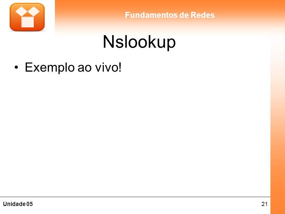21Unidade 05 Fundamentos de Redes Nslookup Exemplo ao vivo!