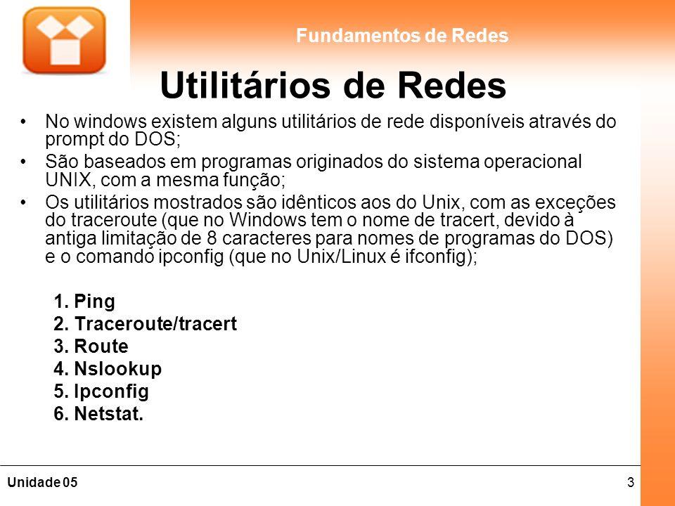 3Unidade 05 Fundamentos de Redes Utilitários de Redes No windows existem alguns utilitários de rede disponíveis através do prompt do DOS; São baseados