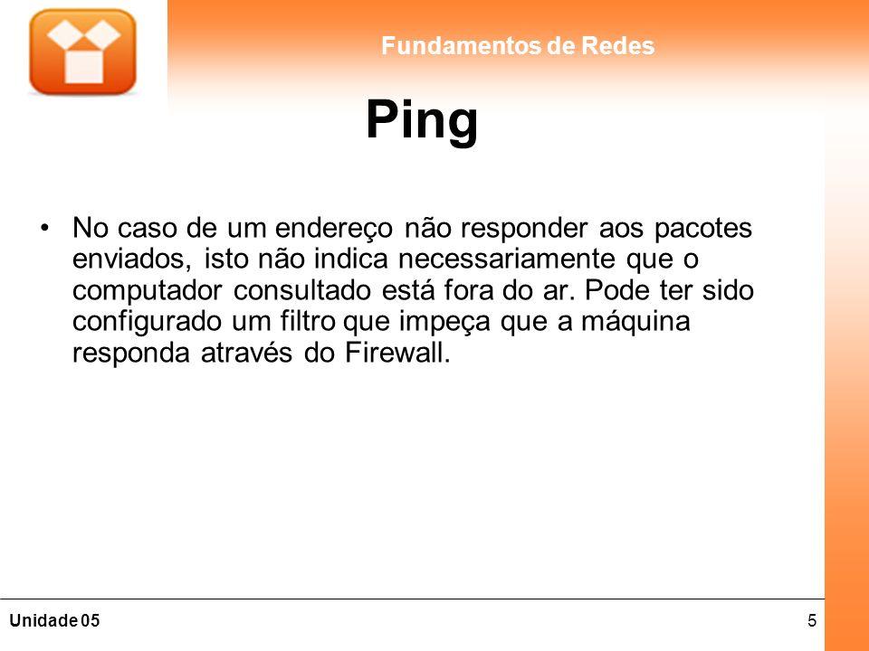 5Unidade 05 Fundamentos de Redes Ping No caso de um endereço não responder aos pacotes enviados, isto não indica necessariamente que o computador cons