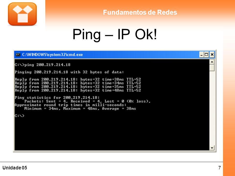 7Unidade 05 Fundamentos de Redes Ping – IP Ok!