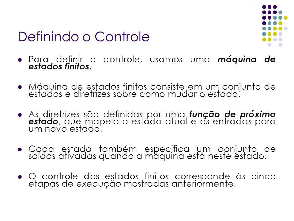 Definindo o Controle Para definir o controle, usamos uma máquina de estados finitos. Máquina de estados finitos consiste em um conjunto de estados e d