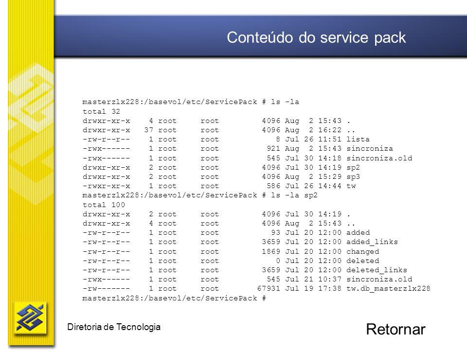 Diretoria de Tecnologia masterzlx228:/basevol/etc/ServicePack # ls -la total 32 drwxr-xr-x 4 root root 4096 Aug 2 15:43. drwxr-xr-x 37 root root 4096
