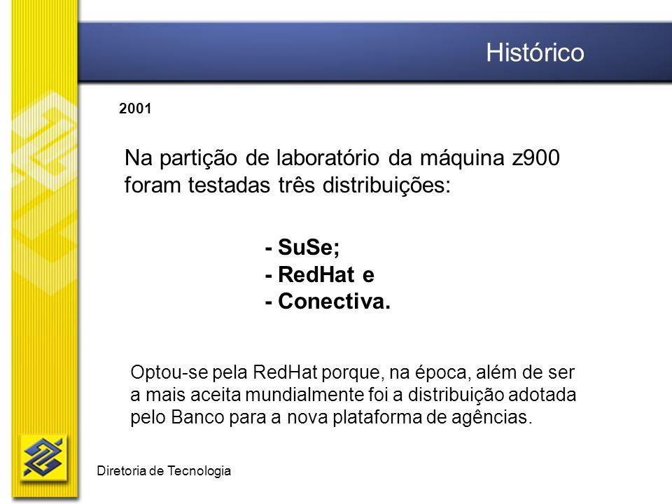 Diretoria de Tecnologia Na partição de laboratório da máquina z900 foram testadas três distribuições: - SuSe; - RedHat e - Conectiva. Optou-se pela Re