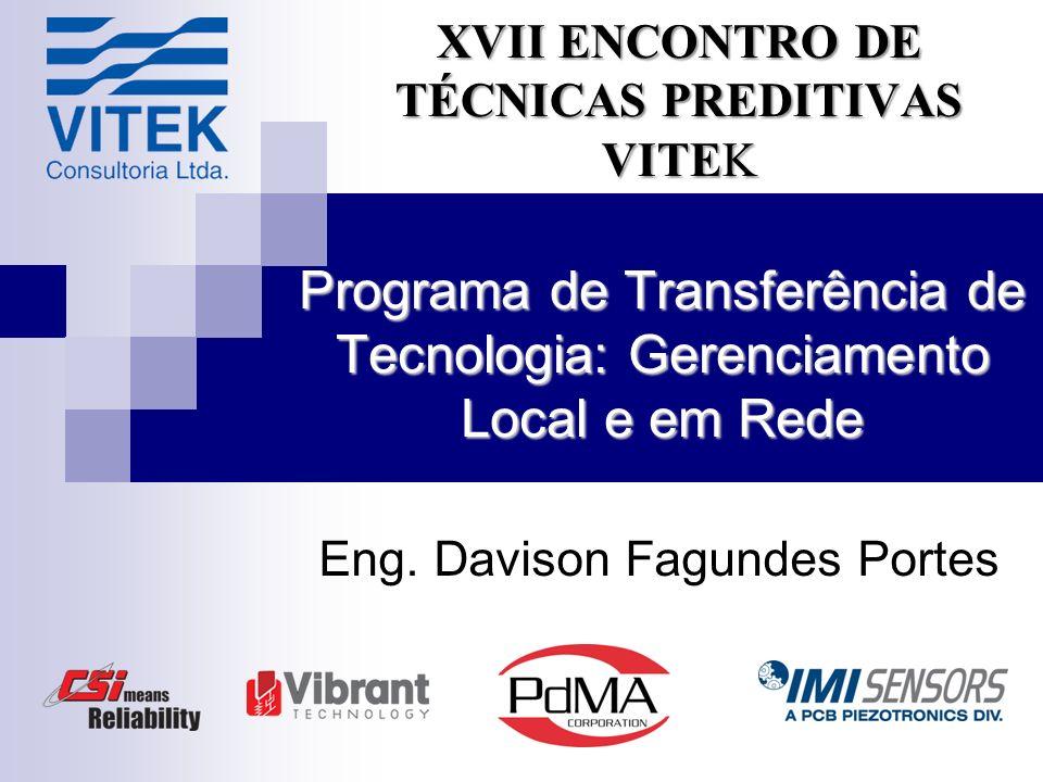 Programa de Transferência de Tecnologia: Gerenciamento Local e em Rede Eng. Davison Fagundes Portes XVII ENCONTRO DE TÉCNICAS PREDITIVAS VITEK