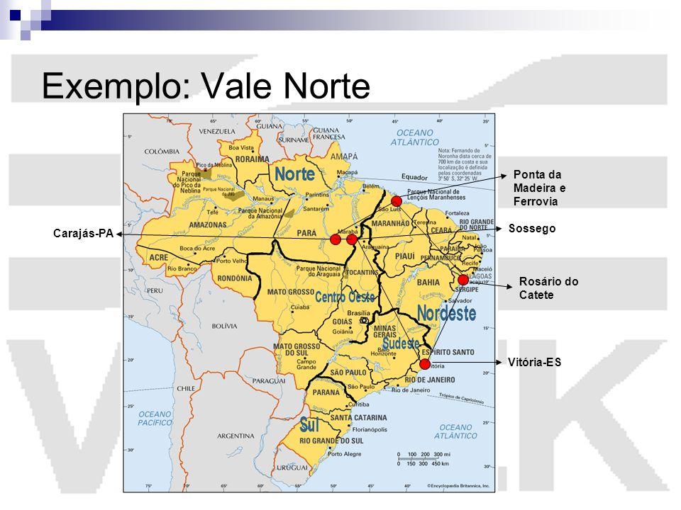 Exemplo: Vale Norte Vitória-ES Carajás-PA Sossego Ponta da Madeira e Ferrovia Rosário do Catete