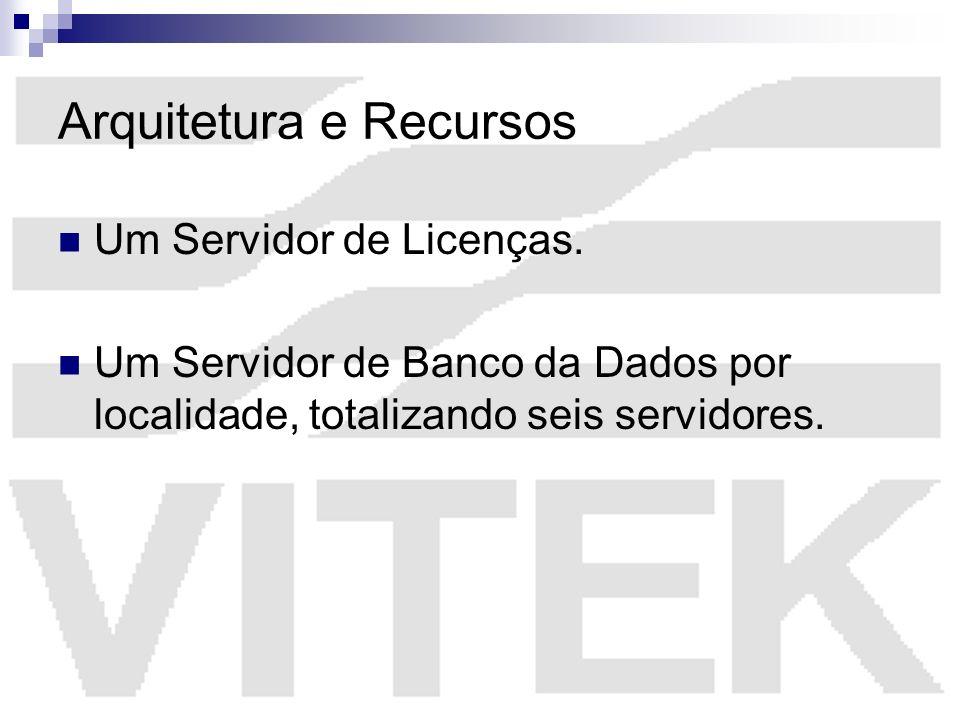 Arquitetura e Recursos Um Servidor de Licenças. Um Servidor de Banco da Dados por localidade, totalizando seis servidores.