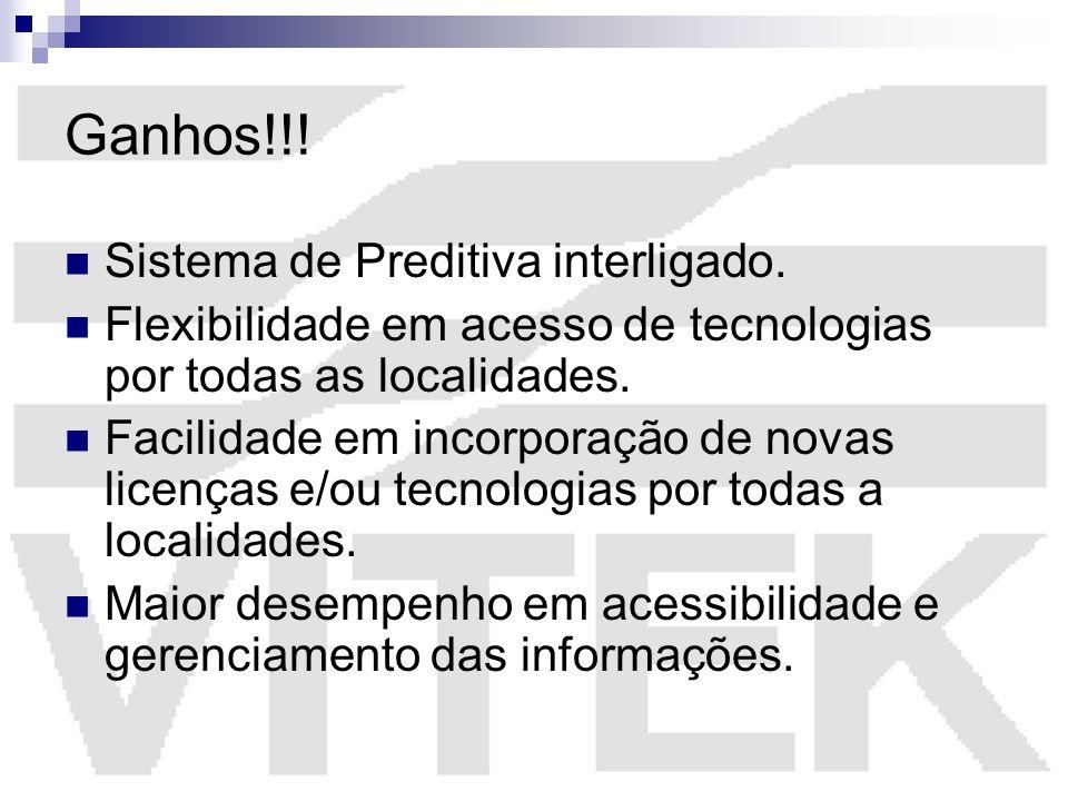 Ganhos!!! Sistema de Preditiva interligado. Flexibilidade em acesso de tecnologias por todas as localidades. Facilidade em incorporação de novas licen