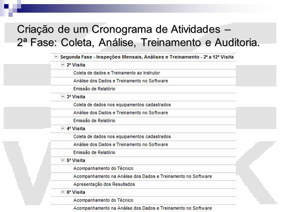 Criação de um Cronograma de Atividades – 2ª Fase: Coleta, Análise, Treinamento e Auditoria.