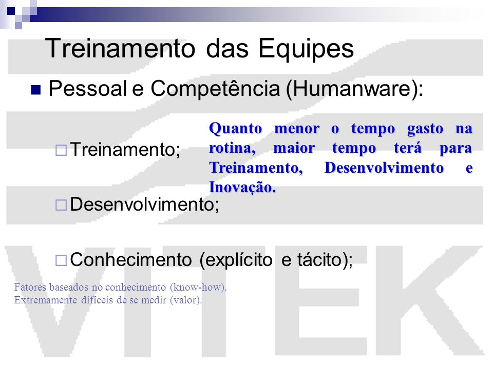 Treinamento das Equipes Pessoal e Competência (Humanware): Treinamento; Desenvolvimento; Conhecimento (explícito e tácito); Fatores baseados no conhec