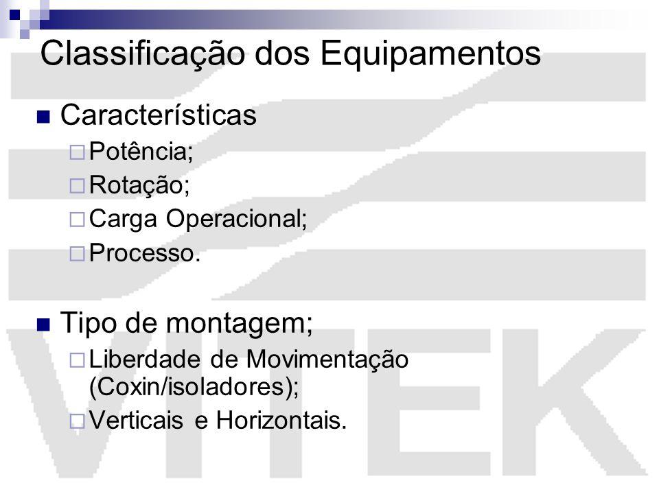 Classificação dos Equipamentos Características Potência; Rotação; Carga Operacional; Processo. Tipo de montagem; Liberdade de Movimentação (Coxin/isol
